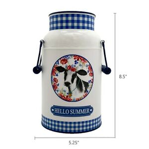 Pioneer Woman Iron Painted Gingham & Floral Hello Summer Milk Can Country Blue