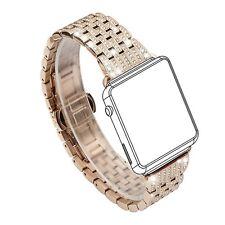Womens Apple Watch Band Crystal Rhinestone Diamond Luxury Bracelet Rose Gold New