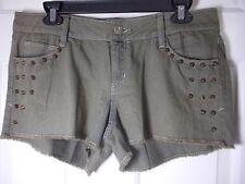 New Decree Juniors Green Mini Studded Denim Shorts Size 11 - Cute!