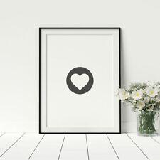 Minimalist Heart Print Modern Wall Art Heart In Circle Poster Anniversary Gift
