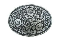 Boucle de ceinture floral gris style western country music, cow-boy, biker.