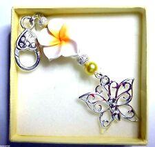 Bag Charm Frangipani Leelawadee Flower / Glass Pearls & Large Butterfly Charm
