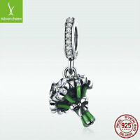 925 Sterling Silver Charm Bead Daisy Pendant Green Enamel Jewelry For Necklace