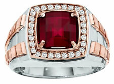 0.70ct NATURAL ROUND DIAMOND 14K WHITE ROSE GOLD RUBY RING FOR MEN SIZE 9 TO 11