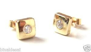 9ct Gold 6mm Square Large Cube CZ Studs Earrings Girls Mothers B'Day GIFT BOX BN