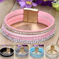 Leather Wrap Wristband Fashion Cuff Punk Crystal Magnetic Bracelet Bangle