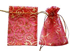 Red Organza Bags Luxury Glitter Gift Pouch Wedding Favour Jewellery xmas 9 x 12