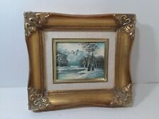 Exceptional vintage ORIGINAL FRAMED MINIATURE 4 X 5 OIL PAINTING