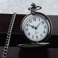Vintage Black Chain Glossy Smooth Quartz Pocket Watch Arabic Numerals Dial Gift