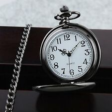 Vintage Black Chain Glossy Smooth Quartz Pocket Watch Arabic Numerals Dial Gift