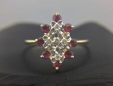 LADIES 14K YELLOW GOLD RING WITH DIAMONDS AND RUBY STONES, SIZE 7.5