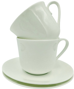 Pair of Large Breakfast Cup and Saucers in Plain White China