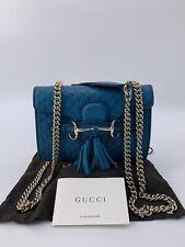 Luxury Original GUCCI TASCHE CROSSBODY Leder NEU Türkis-449636