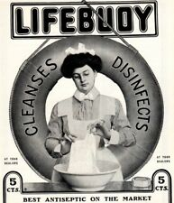 1902 ad Vintage Wash Woman Maid Lifebuoy Soap Disinfects  Hood's Sarsaparilla
