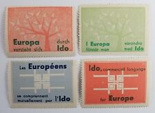 4 Poster Stamps Cinderellas Ido Language for Europe