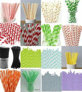 30/50/100 Pcs Paper Drinking Straws Stripe Dot Fruit Wedding Birthday Party