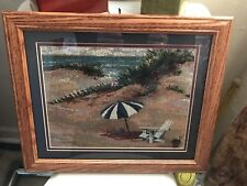 Needlepoint Like Fabric Matted & Framed Under Glass Beach Scene Chair, Umbrella