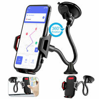 Car Windshield Mount Holder Suction Cup Gooseneck 360°Cell Phone Stand Universal