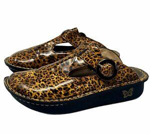 Alegria Lite Slide Clog Mules Classic Leopard Print Patent Leather Women Sz 37
