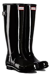 Women's Original Tall Back Adjustable Gloss Black Wellington Boot UK size 3