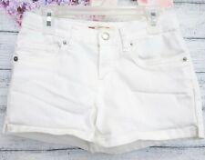 New Levis Girls White Stretch Denim Jean Adjustable Waist Shortie Shorts 12 Reg
