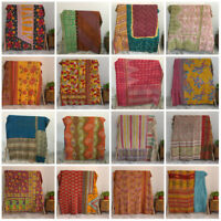 Reversible Kantha Quilt Indian Bedding Bedspread Coverlet Blanket Throw Twin Lot