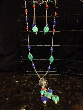 GORGEOUS MATCHING RED CORAL TURQUOISE AND LAPIS LAZULI EARRINGS AND NECKLACE.925