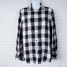 Denim & Supply Ralph Lauren Womens Top Size M Black Cream Flannel Plaid