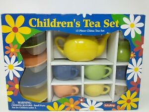 Schylling Children's 13 Piece China Tea Set, Kitchen Play Kid's Toys, Colorful