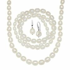 Honora White Freshwater Pearl Earring Bracelets & Necklace Set Sterling Silver