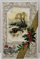A Merry Christmas John Winsch Winter Hollyberry Gold Accent 1910 Postcard A15