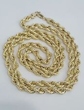 10K Yellow Gold Hollow Rope Chain Necklace Men Man 28 Inches 5.5mm 12.8 Grams