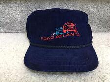 Vintage 90s 80s Corvette Racing Road Atlanta Navy Blue Corduroy Snapback cap Hat