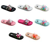 Womens Floral Slip On Slides Sandals Flower Flip Flops Tropical Beach Shoes NEW