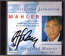 Siegfried Jerusalem Signé MAHLER du garçonnets Wunderhorn Rückert Chansons CD