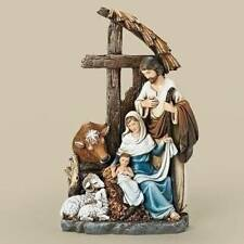 Nativity Set Holy Family Stable 11 inch Statue Cross Cow Sheep Ram 56603