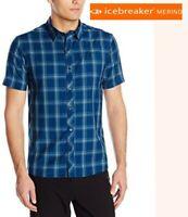 ICEBREAKER departure shirt merino wool short sleeve button front plaid mens LG