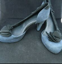 Anthropologie Miss Albright Blue Suede Pumps Flower Ruffle Rockability Pinup S 9