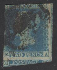 GR BRIT STAMP #4 -- 2p VICTORIA -- BLUE PAPER -- HUGE MARGINS -- 1841 -- USED