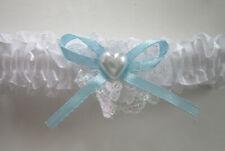 Gorgeous WHITE LACE & BLUE RIBBON GARTER | Pearl Heart | bride Wedding (13)