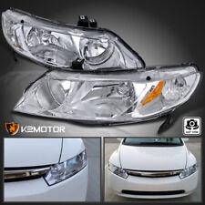 For 2006-2011 Honda Civic 4Dr Sedan Chrome Headlights Crystal Clear Head Lamps