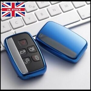Chrome Blue Key Cover For Jaguar XE XF XFR XJ XJL F-PACE F-TYPE Case Fob t45blu