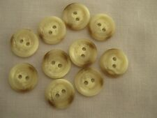 10 X ARAN BUTTONS-NATURAL COLOURED-15 MM WIDE-NEUTRALS PLASTIC