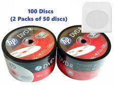 100 HP DVD DVD-R Logo Disc 16X Blank media 4.7GB/120Min +100 Paper Sleeves 100gr