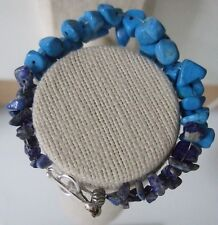 "Blue Dyed Howlite & Natural Sodalite Ladder Weave 7.25"" Bracelet"