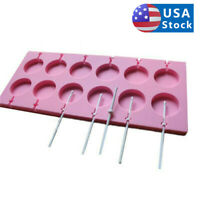 12 Silicone Tray Cake Mould Lollipop Party Cupcake Baking Mold Lollypop Sticks