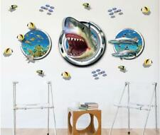 3D Ocean Sharks Fish Room Home Decor Removable Wall Stickers Decals Decoration