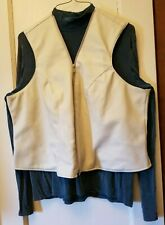 Cream Pleather Zip Front Lined Vest Xl Rod's Western Wear Nwt
