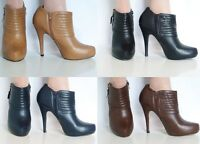 **SALE** Ladies Leather style High Stiletto Heel Platform Ankle Boots Shoes Size