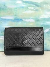 $765 YVES SAINT LAURENT YSL Black Diamond Quilted Leather Flap Clutch Bag